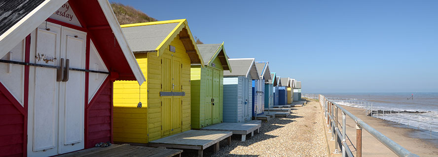 Beach huts on Overstrand Promenade
